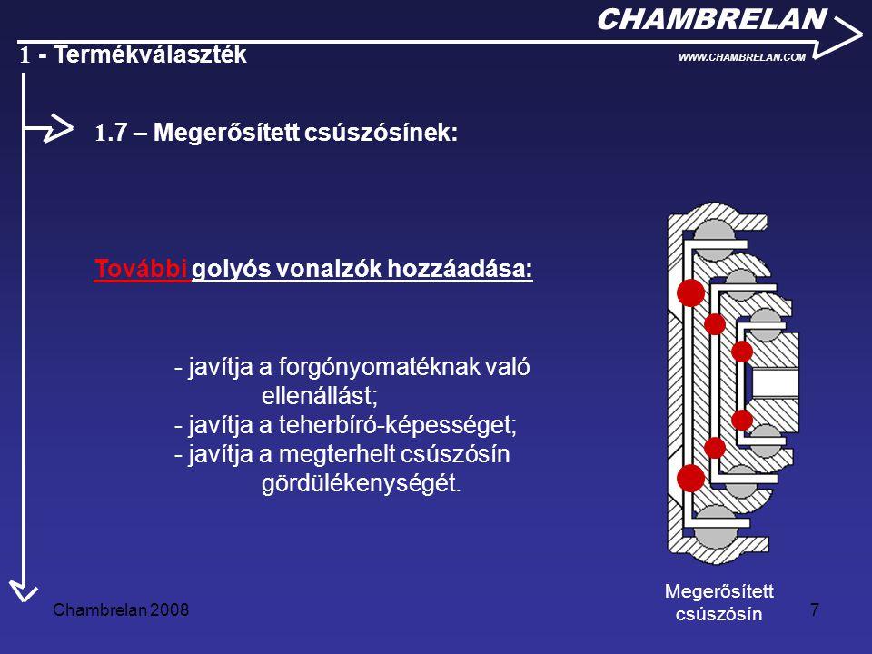 Chambrelan 20087 CHAMBRELAN WWW.CHAMBRELAN.COM 1 - Termékválaszték További golyós vonalzók hozzáadása: Megerősített csúszósín 1.7 – Megerősített csúsz