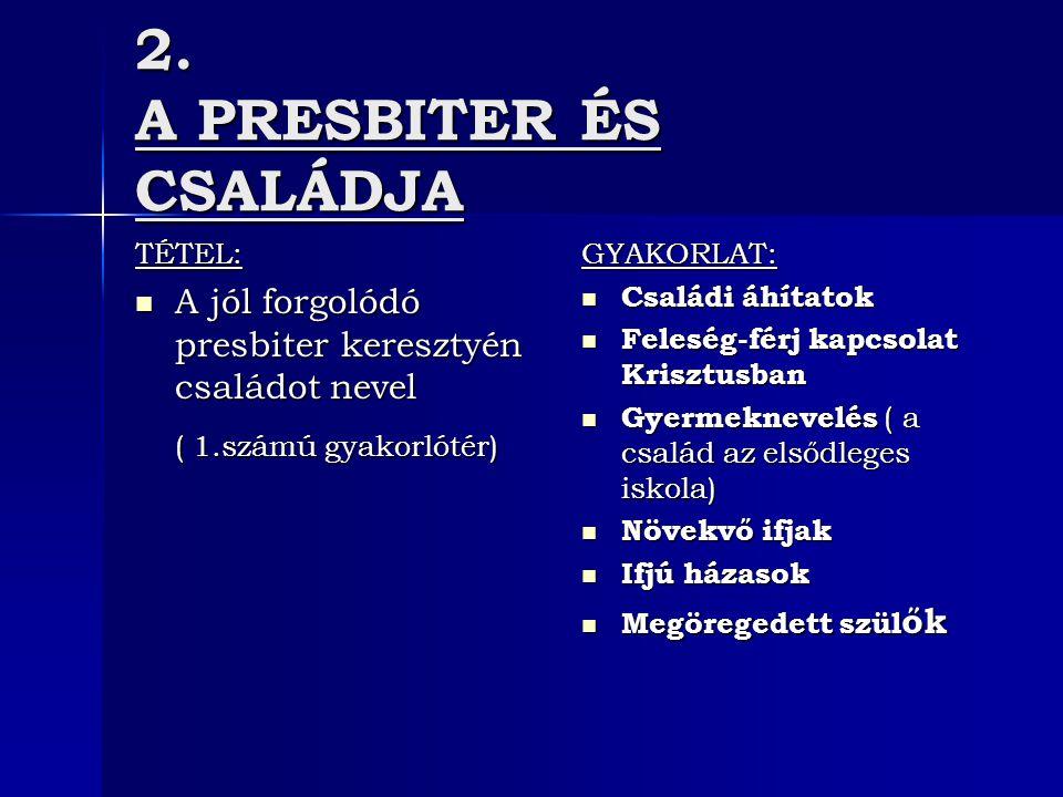 2. A PRESBITER ÉS CSALÁDJA TÉTEL: A jól forgolódó presbiter keresztyén családot nevel A jól forgolódó presbiter keresztyén családot nevel ( 1.számú gy