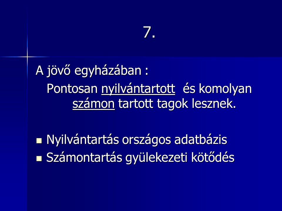 7. A jövő egyházában : Pontosan nyilvántartott és komolyan számon tartott tagok lesznek.