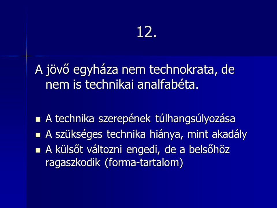 12. A jövő egyháza nem technokrata, de nem is technikai analfabéta.
