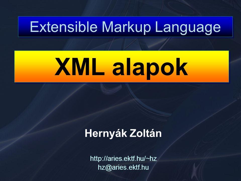 XML Jane Doe John Smith Jane Doe John Smith SGML (Standard Generalized Markup Language) 1970-s évek elejétől fejlődik folyamatosan ISO standard lett 1986-ban U.S.