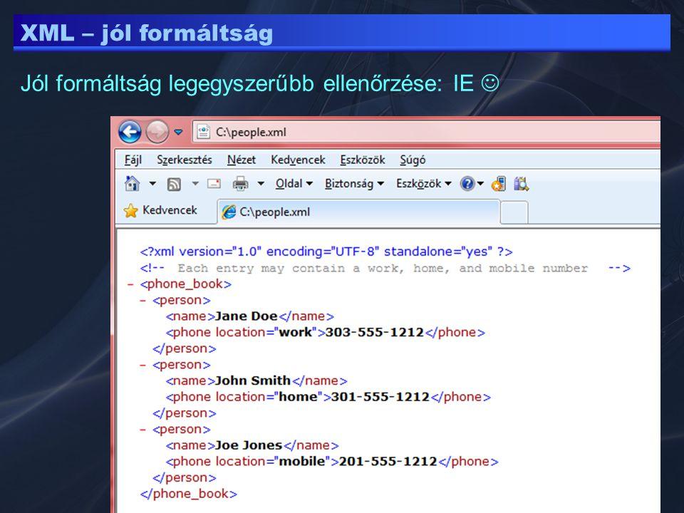 XML – jól formáltság Jól formáltság legegyszerűbb ellenőrzése: IE