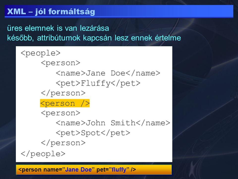XML – jól formáltság üres elemnek is van lezárása később, attribútumok kapcsán lesz ennek értelme