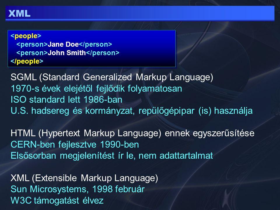 XML Jane Doe John Smith Jane Doe John Smith SGML (Standard Generalized Markup Language) 1970-s évek elejétől fejlődik folyamatosan ISO standard lett 1
