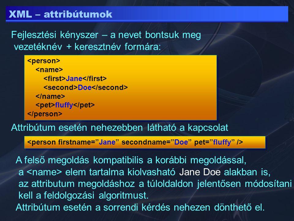 XML – attribútumok Attribútum esetén nehezebben látható a kapcsolat Jane Doe fluffy Jane Doe fluffy Fejlesztési kényszer – a nevet bontsuk meg vezeték