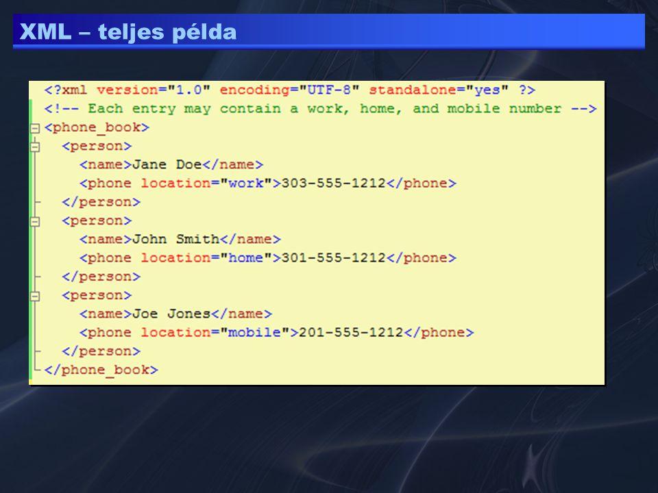 XML – teljes példa