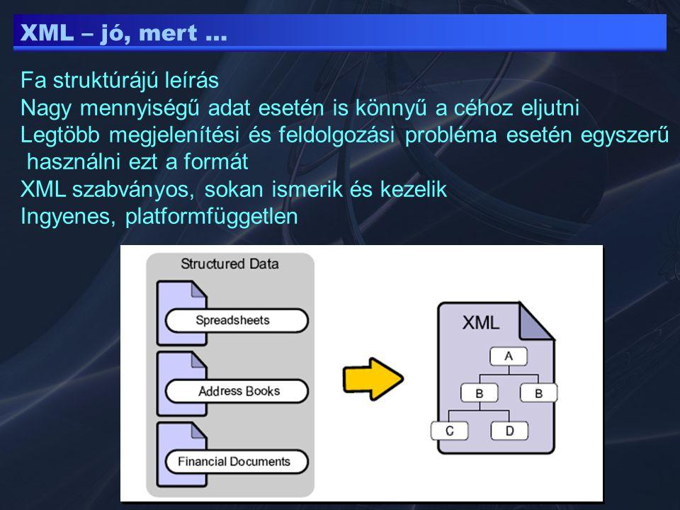XML – deklaráció XML deklaráció (ezzel kezdődik az XML dokumentum) Az adatokon kívül (gyökér elem előtt) helyezkedik el version – xml verzió (1.0, 1.1) encoding – kódlap (utf-8 kíváló, windows-1250 a notepad esetén) standalone – yes: DTD bejegyzést nem tartalmaz - no: DTD file nevének hivatkozását tartalmazza DTD : Document Type Definition