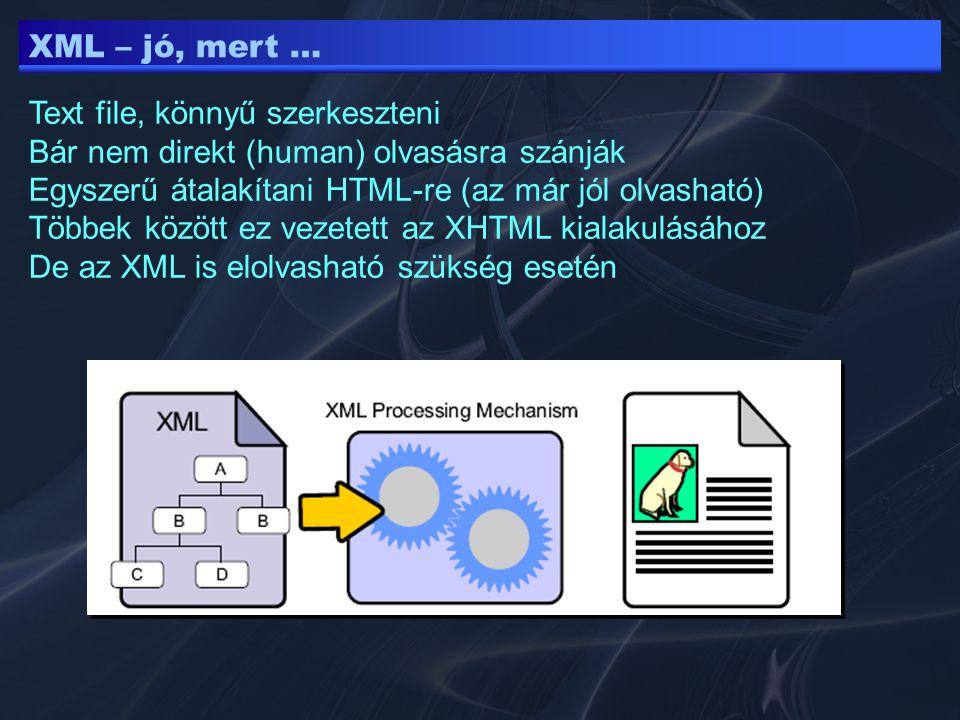 XML – jó, mert … Text file, könnyű szerkeszteni Bár nem direkt (human) olvasásra szánják Egyszerű átalakítani HTML-re (az már jól olvasható) Többek kö