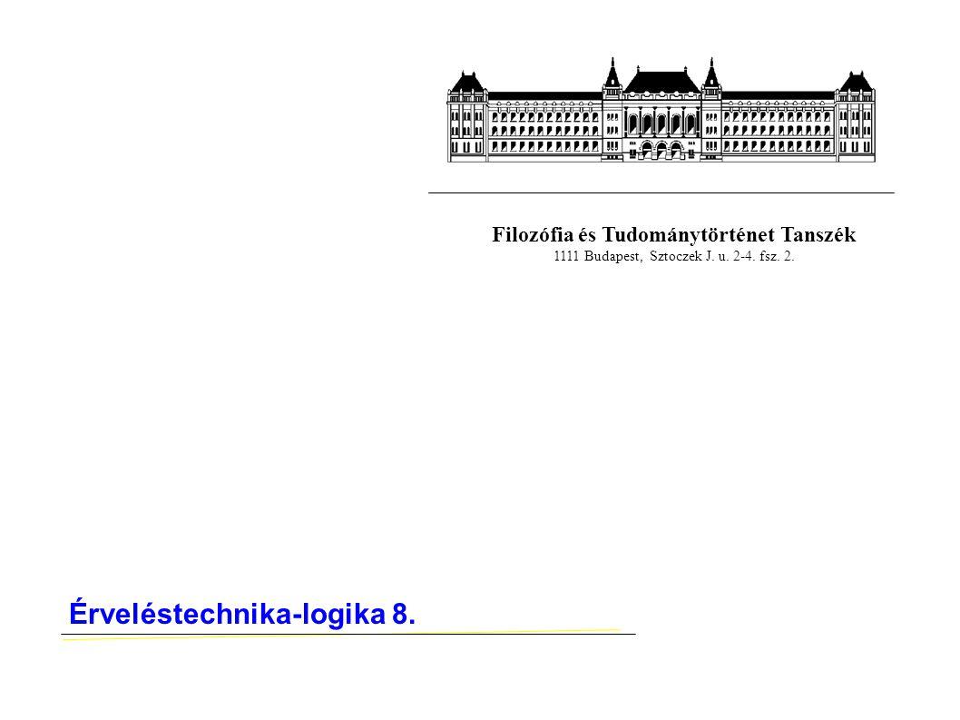 Filozófia és Tudománytörténet Tanszék 1111 Budapest, Sztoczek J. u. 2-4. fsz. 2. Érveléstechnika-logika 8.