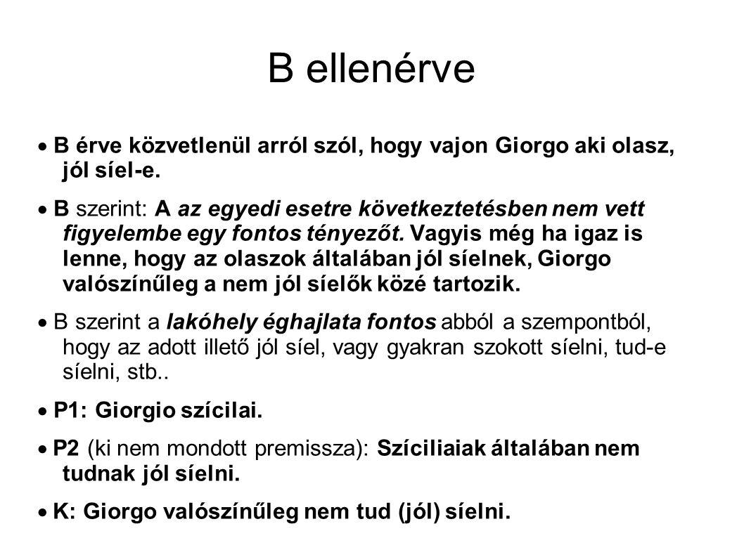B ellenérve  B érve közvetlenül arról szól, hogy vajon Giorgo aki olasz, jól síel-e.  B szerint: A az egyedi esetre következtetésben nem vett figyel