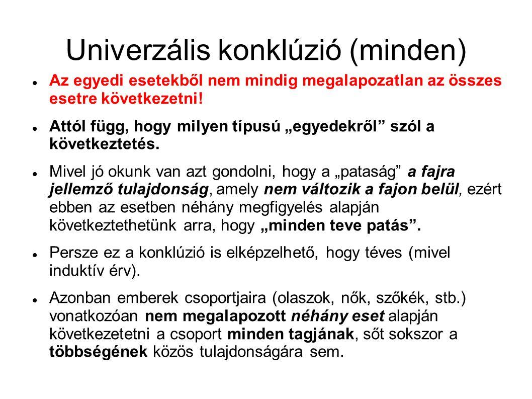 """Univerzális konklúzió (minden) Az egyedi esetekből nem mindig megalapozatlan az összes esetre következetni! Attól függ, hogy milyen típusú """"egyedekről"""