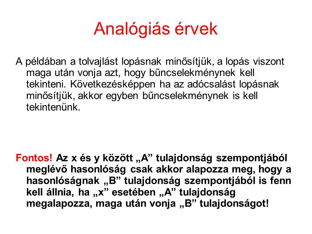 Analógiás érvek A példában a tolvajlást lopásnak minősítjük, a lopás viszont maga után vonja azt, hogy bűncselekménynek kell tekinteni. Következésképp