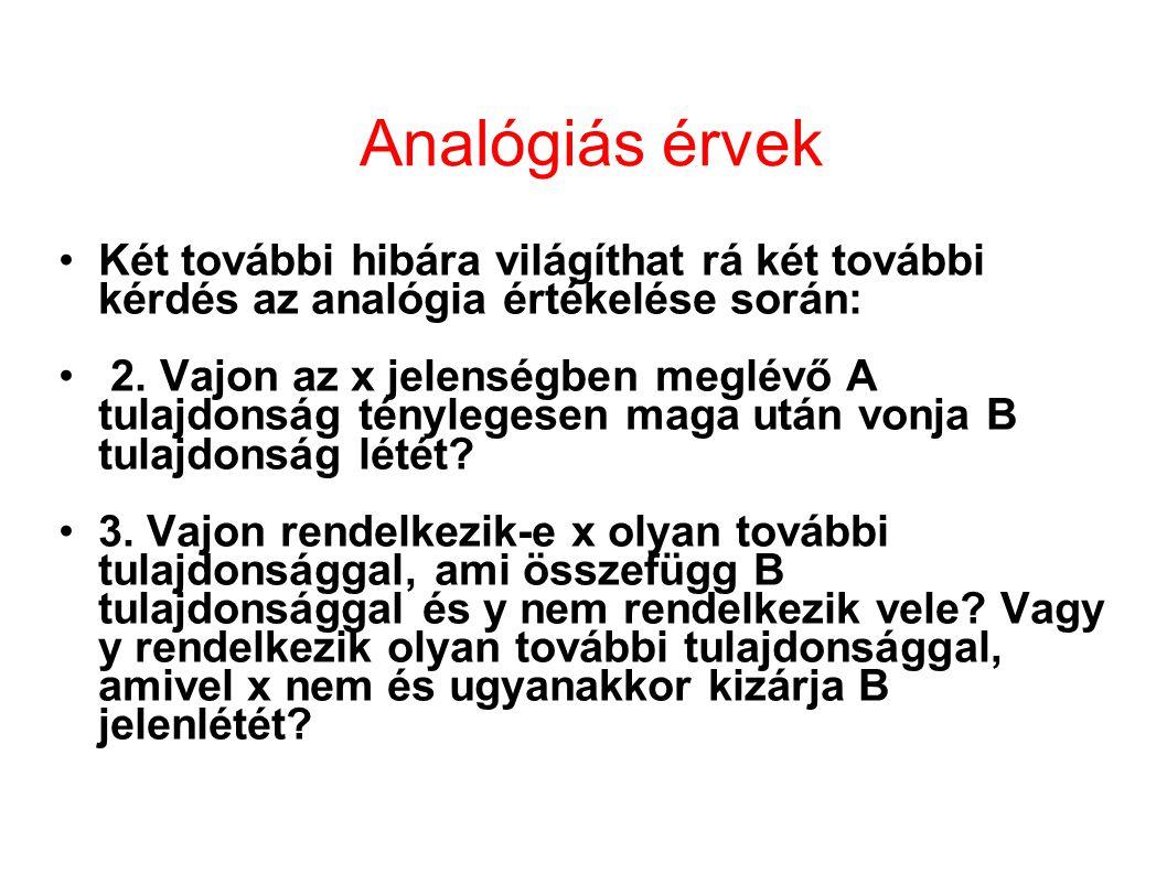 Analógiás érvek Két további hibára világíthat rá két további kérdés az analógia értékelése során: 2. Vajon az x jelenségben meglévő A tulajdonság tény