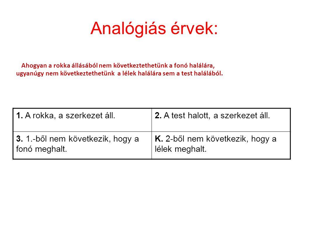 Analógiás érvek: 1. A rokka, a szerkezet áll.2. A test halott, a szerkezet áll. 3. 1.-ből nem következik, hogy a fonó meghalt. K. 2-ből nem következik