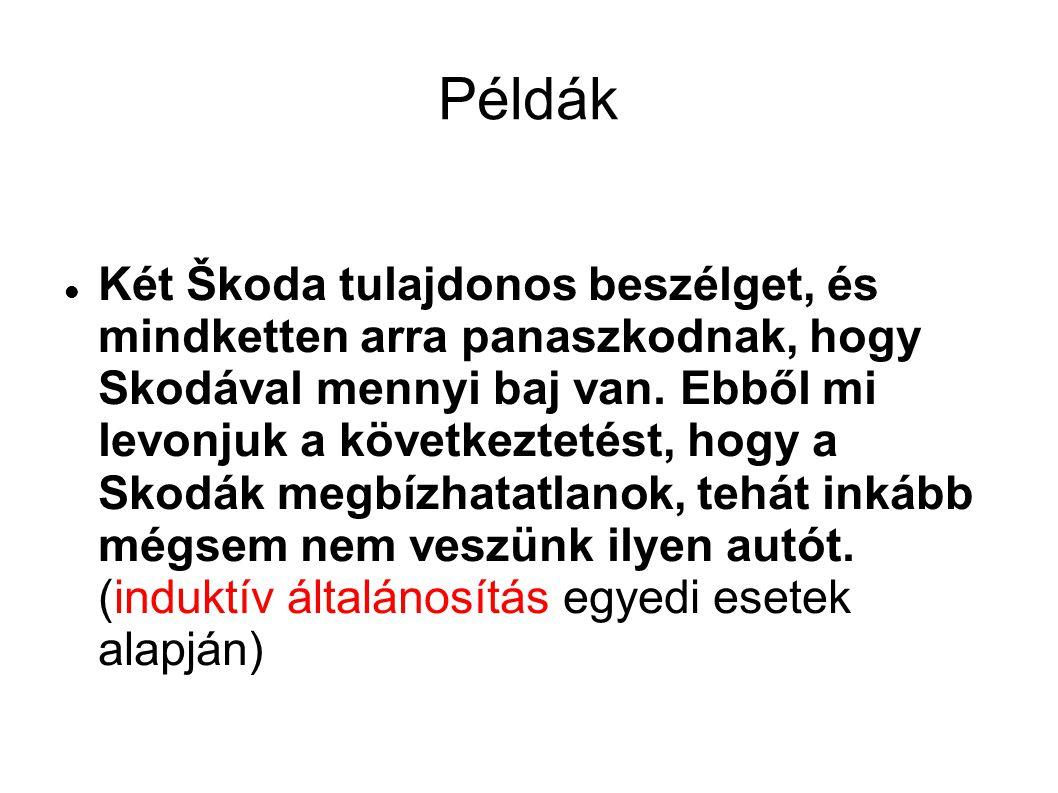 Példák Két Škoda tulajdonos beszélget, és mindketten arra panaszkodnak, hogy Skodával mennyi baj van. Ebből mi levonjuk a következtetést, hogy a Skodá