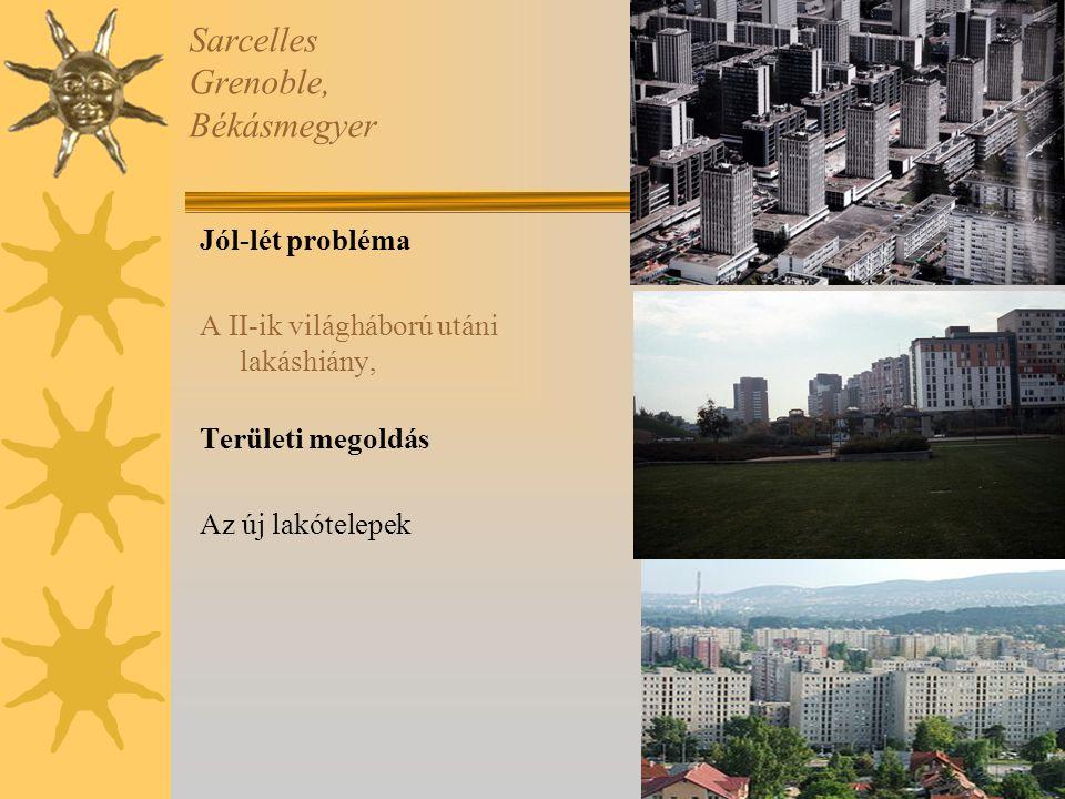 Sarcelles Grenoble, Békásmegyer Jól-lét probléma A II-ik világháború utáni lakáshiány, Területi megoldás Az új lakótelepek