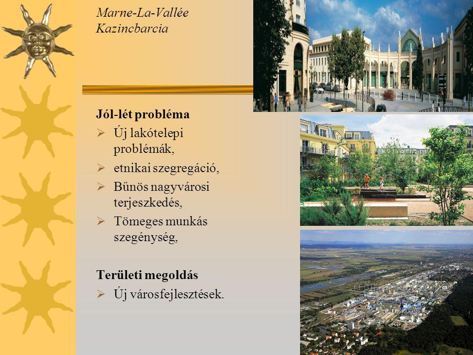 Marne-La-Vallée Kazincbarcia Jól-lét probléma  Új lakótelepi problémák,  etnikai szegregáció,  Bűnös nagyvárosi terjeszkedés,  Tömeges munkás szegénység, Területi megoldás  Új városfejlesztések.