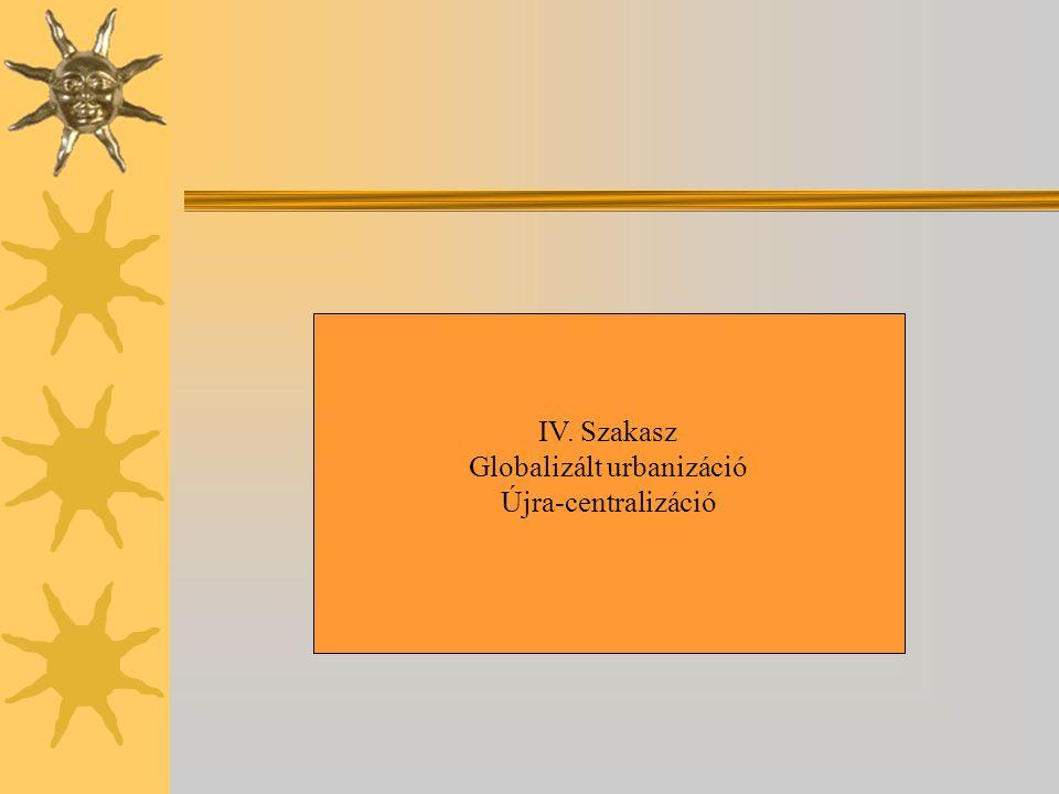 IV. Szakasz Globalizált urbanizáció Újra-centralizáció