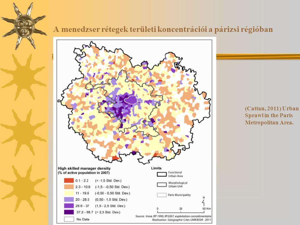 A menedzser rétegek területi koncentrációi a párizsi régióban (Cattan, 2011) Urban Sprawl in the Paris Metropolitan Area.