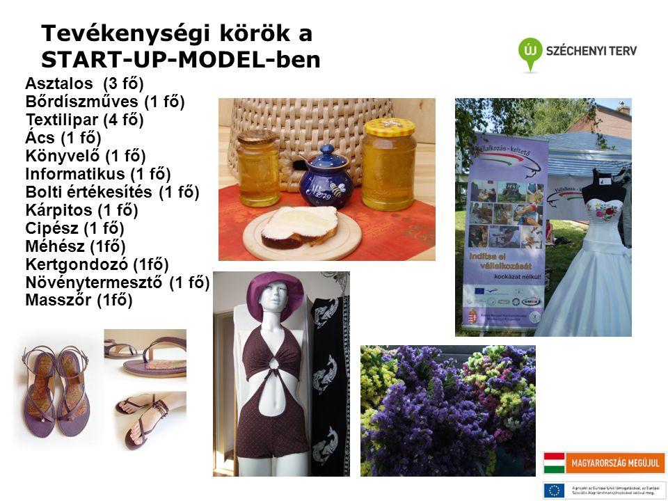 Tevékenységi körök a START-UP-MODEL-ben Asztalos (3 fő) Bőrdíszműves (1 fő) Textilipar (4 fő) Ács (1 fő) Könyvelő (1 fő) Informatikus (1 fő) Bolti értékesítés (1 fő) Kárpitos (1 fő) Cipész (1 fő) Méhész (1fő) Kertgondozó (1fő) Növénytermesztő (1 fő) Masszőr (1fő)