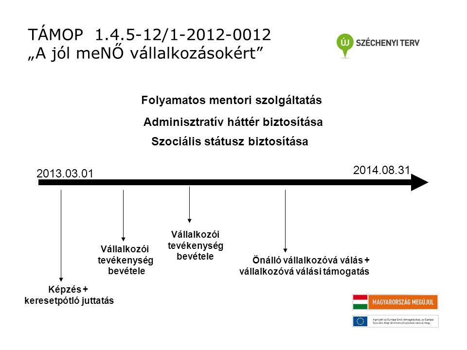 """TÁMOP 1.4.5-12/1-2012-0012 """"A jól meNŐ vállalkozásokért 2013.03.01 2014.08.31 Képzés + keresetpótló juttatás Vállalkozói tevékenység bevétele Vállalkozói tevékenység bevétele Önálló vállalkozóvá válás + vállalkozóvá válási támogatás Folyamatos mentori szolgáltatás Adminisztratív háttér biztosítása Szociális státusz biztosítása"""