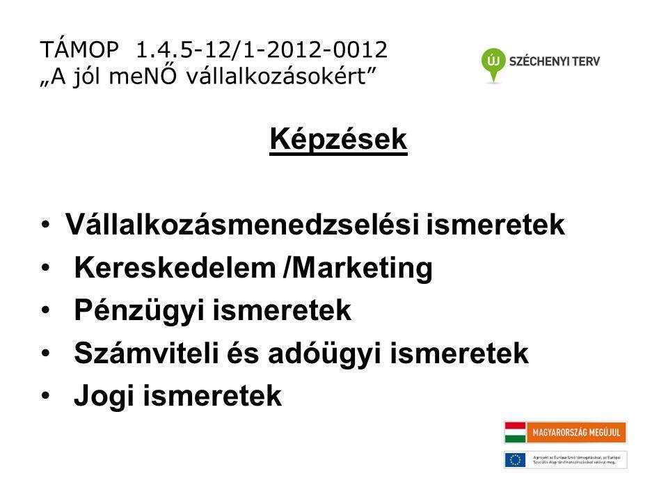 """TÁMOP 1.4.5-12/1-2012-0012 """"A jól meNŐ vállalkozásokért Képzések Vállalkozásmenedzselési ismeretek Kereskedelem /Marketing Pénzügyi ismeretek Számviteli és adóügyi ismeretek Jogi ismeretek"""