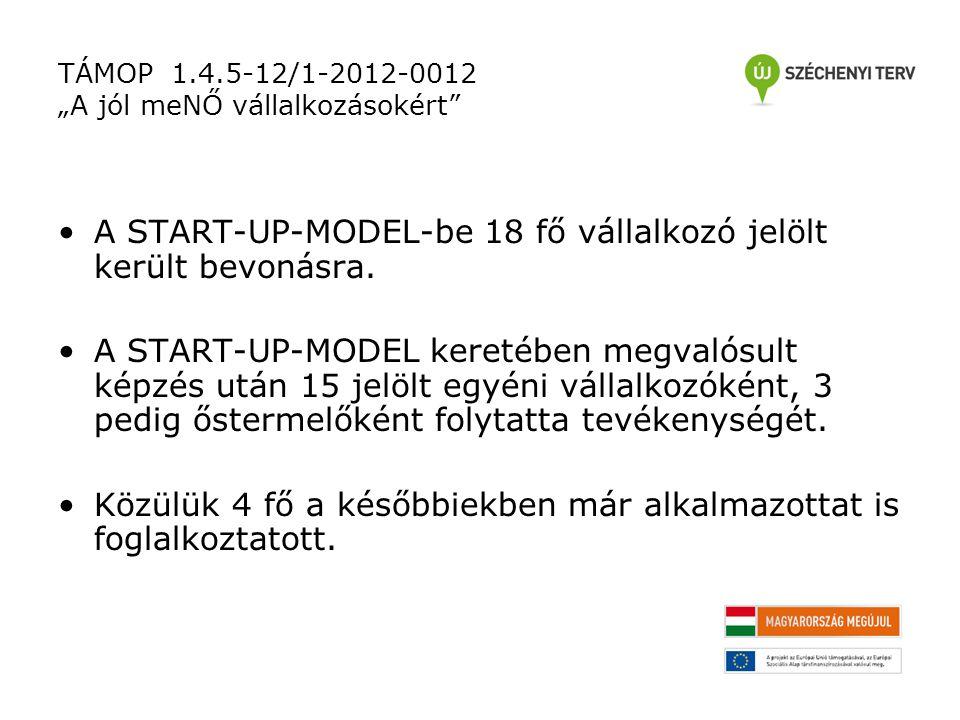 """TÁMOP 1.4.5-12/1-2012-0012 """"A jól meNŐ vállalkozásokért A START-UP-MODEL-be 18 fő vállalkozó jelölt került bevonásra."""