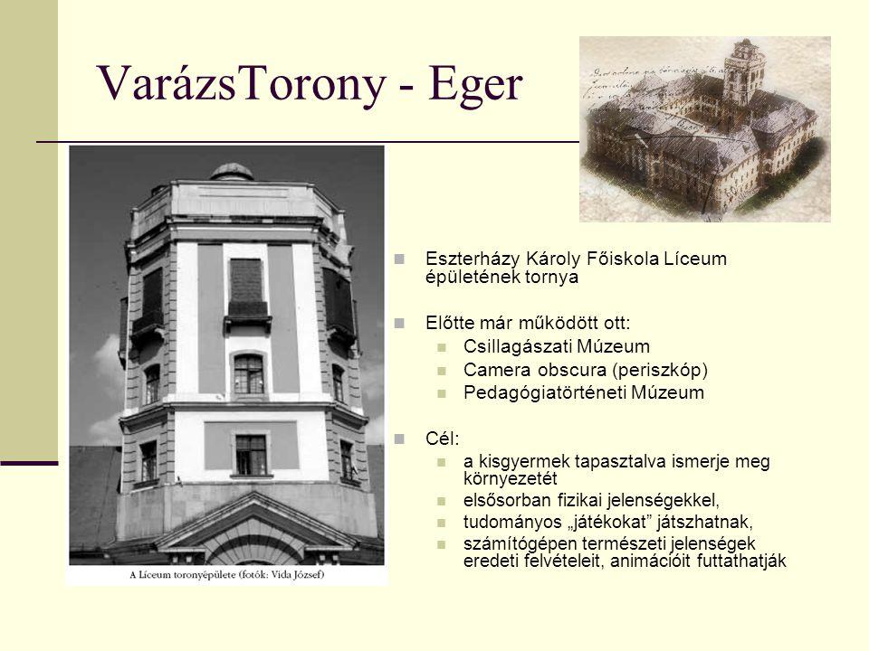 VarázsTorony - Eger Eszterházy Károly Főiskola Líceum épületének tornya Előtte már működött ott: Csillagászati Múzeum Camera obscura (periszkóp) Pedag