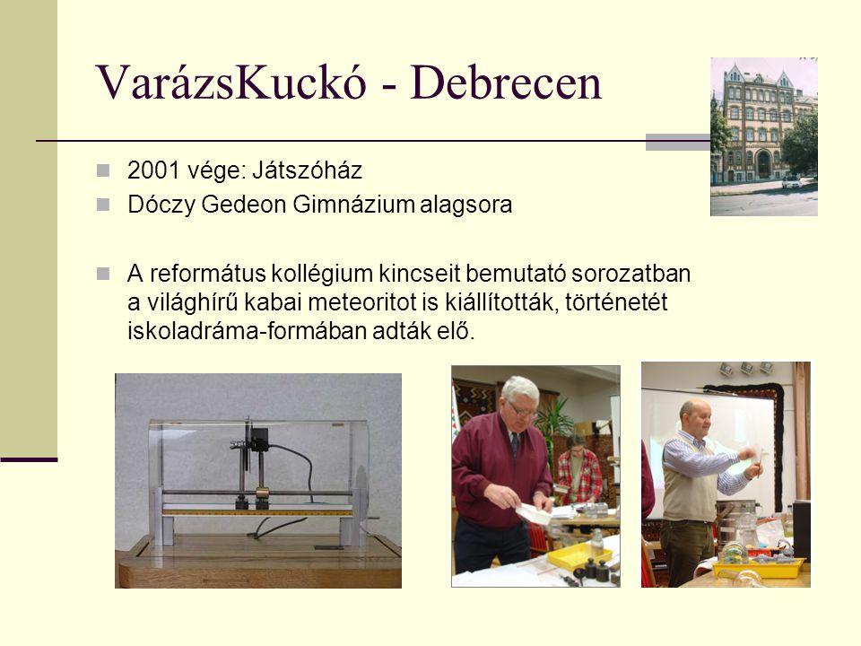 VarázsKuckó - Debrecen 2001 vége: Játszóház Dóczy Gedeon Gimnázium alagsora A református kollégium kincseit bemutató sorozatban a világhírű kabai mete