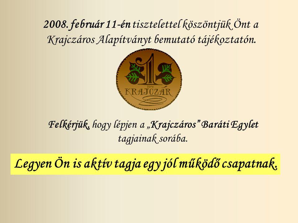 2008. február 11-én tisztelettel köszöntjük Önt a Krajczáros Alapítványt bemutató tájékoztatón.