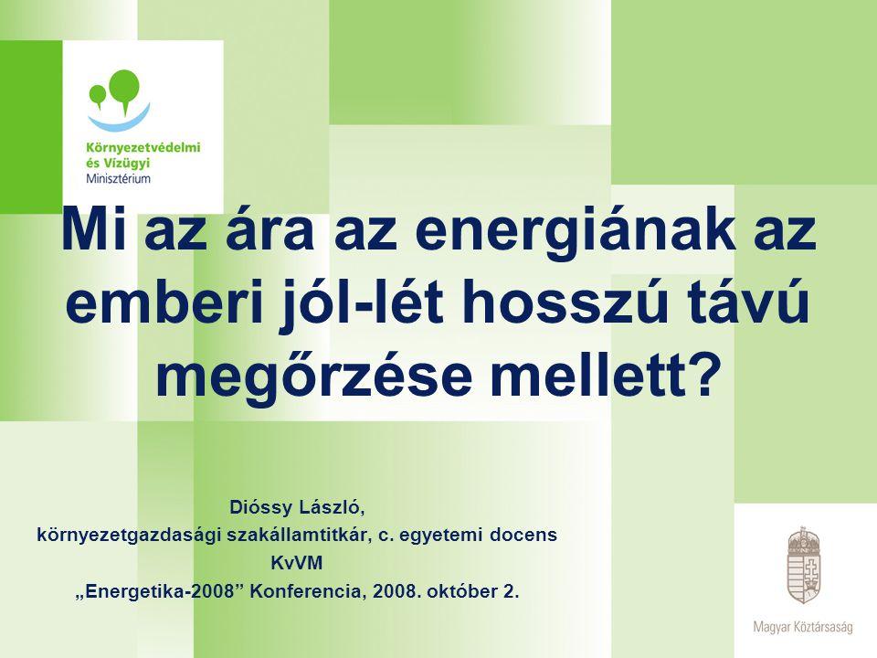 EU stratégiák, tervek, irányelvek Meglevő irányelvek: 2001/77/EK irányelv a zöld villamos energia támogatásáról Bio-üzemanyag stratégia Biomassza Cselekvési Terv 2003/30/EK irányelv a közlekedésben használt bio- üzemanyagokról 2003/87/EK irányelv az üvegházhatást okozó gázok kibocsátási egységeinek Közösségen belüli kereskedelmi rendszerének létrehozásáról 2006/32/EK irányelv az energia végfelhasználás hatékonyságáról és az energetikai szolgáltatásokról 2002/91/EK irányelv az épületek energiahatékonyságáról Tárgyalás alatt levő irányelvek (Klíma és energia csomag) 2003/87/EK irányelv felülvizsgálata Tehermegosztásra vonatkozó irányelv Készülő ÚJ EU-IRÁNYELV a megújuló forrásokból előállított energia támogatásáról (tagországok számára konkrét növelési célokat jelöl ki 2020-ra)