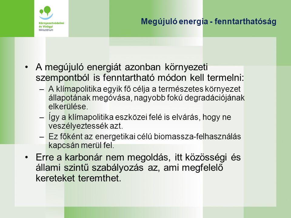 Megújuló energia - fenntarthatóság A megújuló energiát azonban környezeti szempontból is fenntartható módon kell termelni: –A klímapolitika egyik fő c