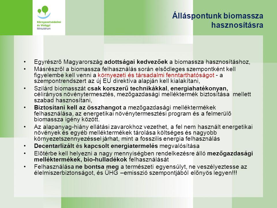 Álláspontunk biomassza hasznosításra Egyrészrő Magyarország adottságai kedvezőek a biomassza hasznosításhoz, Másrészről a biomassza felhasználás során