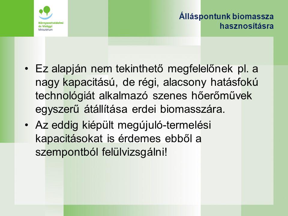 Álláspontunk biomassza hasznosításra Ez alapján nem tekinthető megfelelőnek pl. a nagy kapacitású, de régi, alacsony hatásfokú technológiát alkalmazó