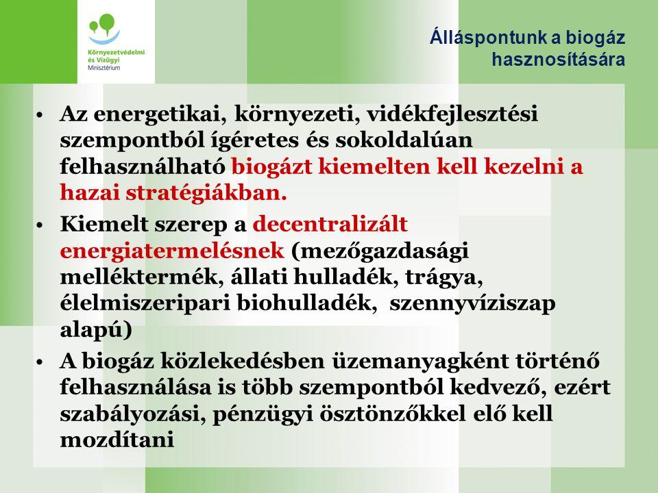 Álláspontunk a biogáz hasznosítására Az energetikai, környezeti, vidékfejlesztési szempontból ígéretes és sokoldalúan felhasználható biogázt kiemelten
