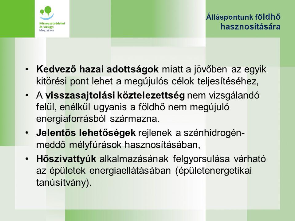 Álláspontunk f öldhő hasznosítására Kedvező hazai adottságok miatt a jövőben az egyik kitörési pont lehet a megújulós célok teljesítéséhez, A visszasa