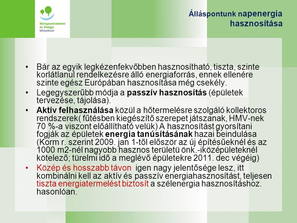 Álláspontunk n apenergia hasznosítása Bár az egyik legkézenfekvőbben hasznosítható, tiszta, szinte korlátlanul rendelkezésre álló energiaforrás, ennek