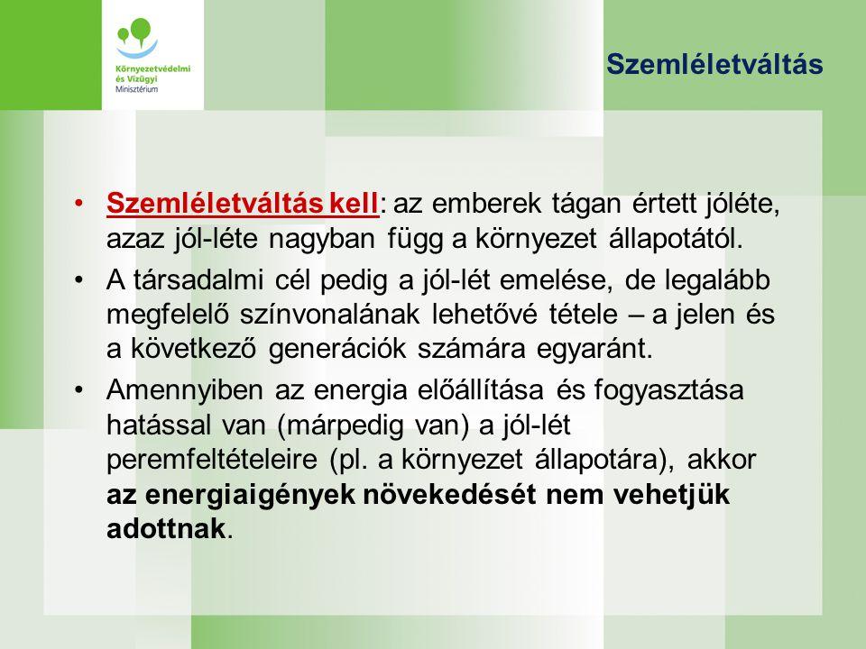 Megoldási irányok Megoldási irányok: –A legtisztább energia az, amit nem kell megtermelni: energiahatékonysági és –takarékossági beruházások.