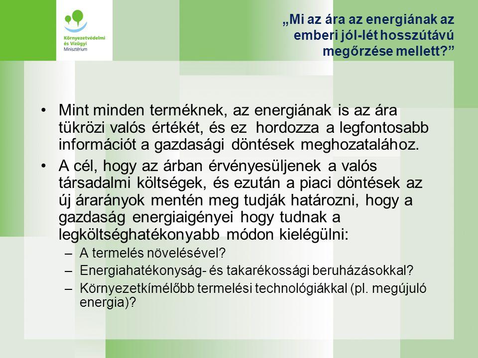 Megújuló energia - fenntarthatóság A megújuló energiát azonban környezeti szempontból is fenntartható módon kell termelni: –A klímapolitika egyik fő célja a természetes környezet állapotának megóvása, nagyobb fokú degradációjának elkerülése.