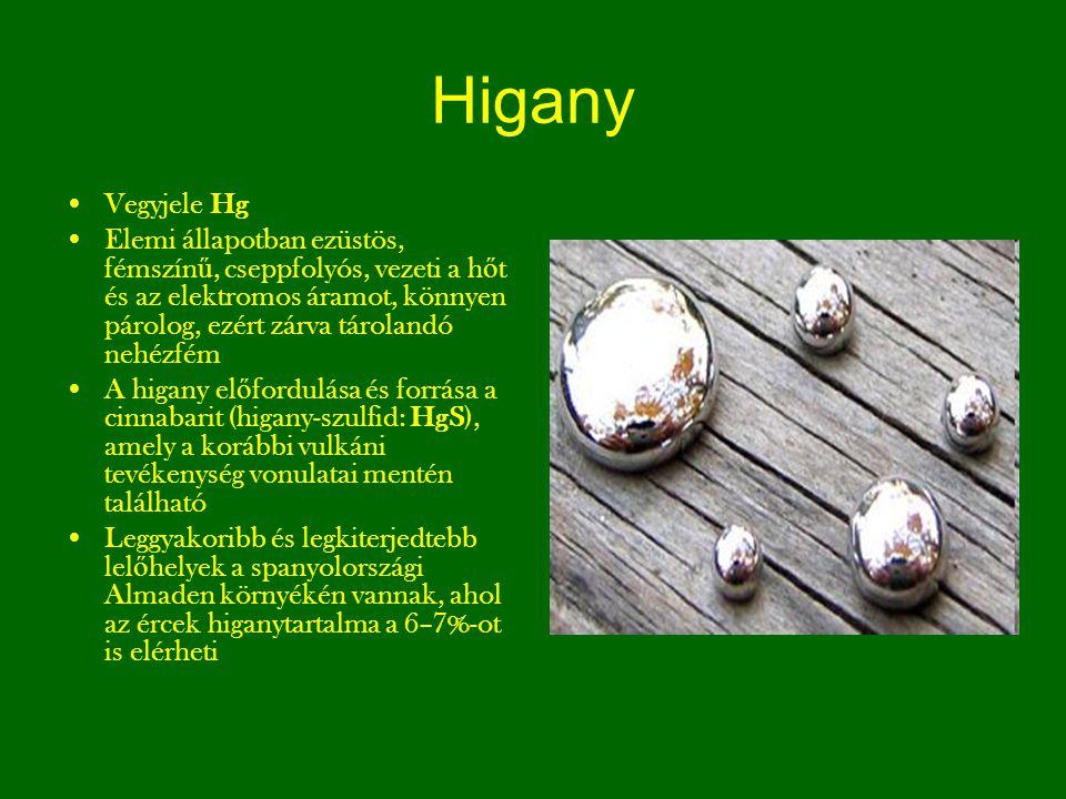 Higany Vegyjele Hg Elemi állapotban ezüstös, fémszín ű, cseppfolyós, vezeti a h ő t és az elektromos áramot, könnyen párolog, ezért zárva tárolandó ne