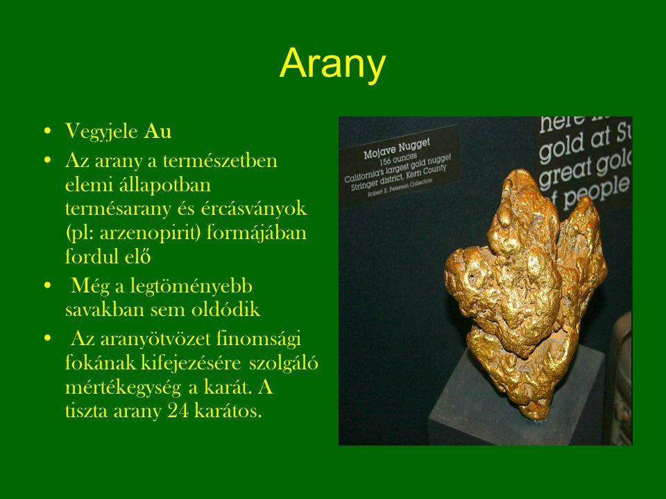 Arany Vegyjele Au Az arany a természetben elemi állapotban termésarany és ércásványok (pl: arzenopirit) formájában fordul el ő Még a legtöményebb sava