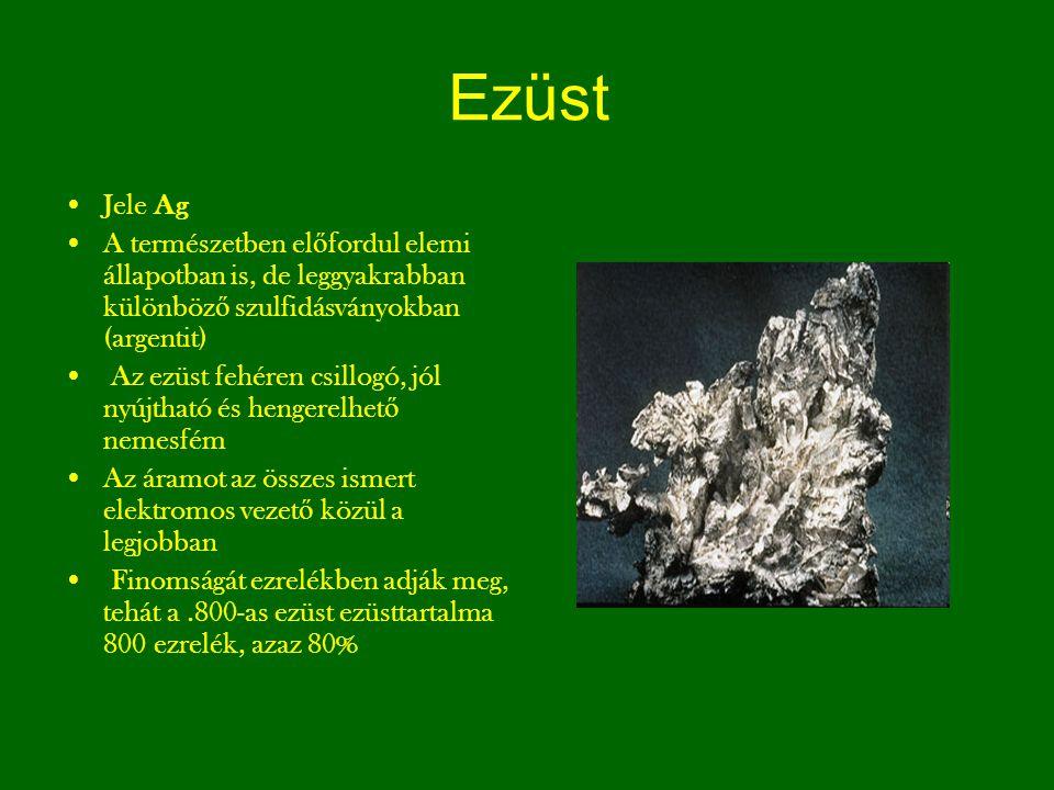 Ezüst Jele Ag A természetben el ő fordul elemi állapotban is, de leggyakrabban különböz ő szulfidásványokban (argentit) Az ezüst fehéren csillogó, jól