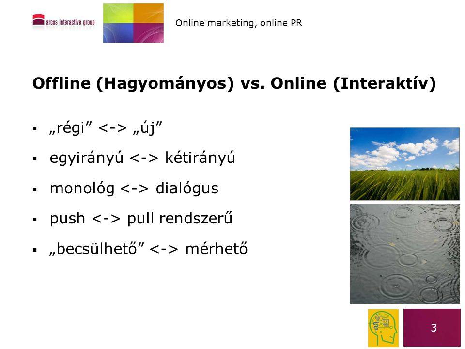 """3 Offline (Hagyományos) vs. Online (Interaktív)  """"régi"""" """"új""""  egyirányú kétirányú  monológ dialógus  push pull rendszerű  """"becsülhető"""" mérhető On"""
