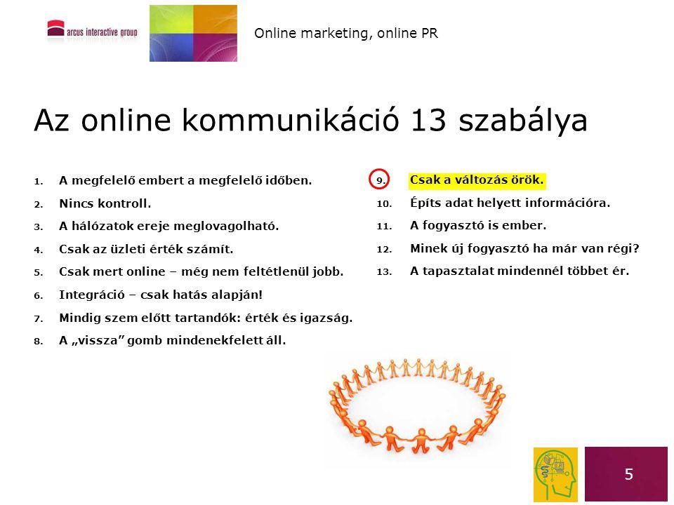 5 Az online kommunikáció 13 szabálya 1. A megfelelő embert a megfelelő időben. 2. Nincs kontroll. 3. A hálózatok ereje meglovagolható. 4. Csak az üzle