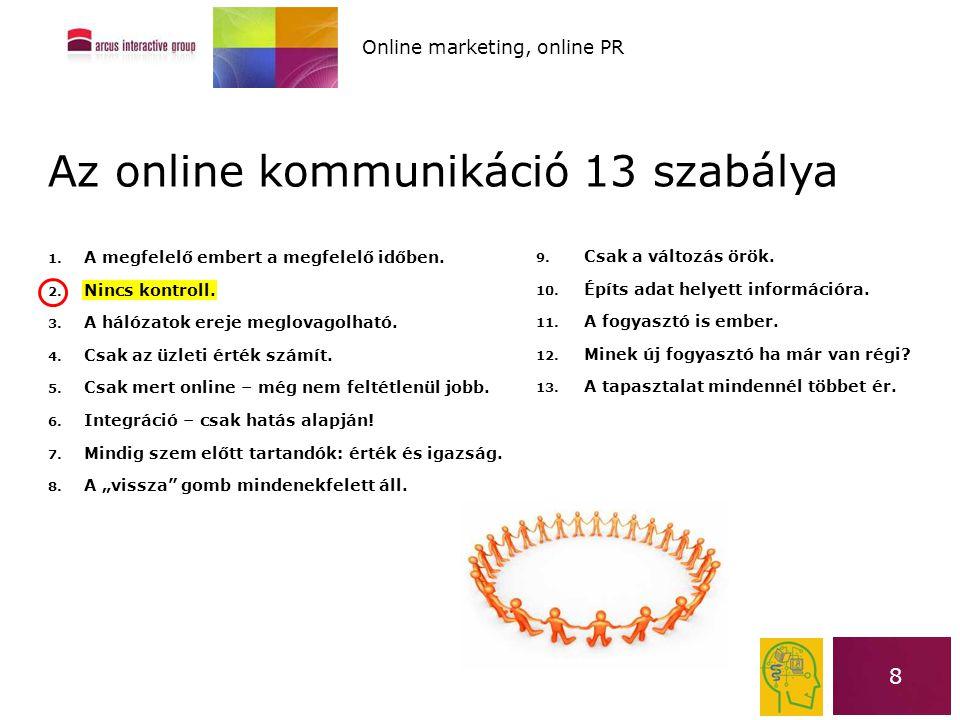 8 Az online kommunikáció 13 szabálya 1. A megfelelő embert a megfelelő időben. 2. Nincs kontroll. 3. A hálózatok ereje meglovagolható. 4. Csak az üzle