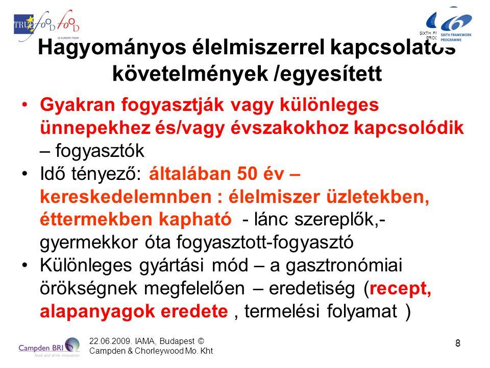 SIXTH FRAMEWORK PROGRAMME Hagyományos élelmiszerrel kapcsolatos követelmények /egyesített (2) Egy bizonyos vidékhez kapcsolódik (helyi, tájegységi, országos) Érzékszervi tulajdonságai miatt jól felismerhető és megkülönböztethető - fogyasztók Gasztronómiai örökség: leírt története van – láncszereplők Példák Magyarországról láncszereplők és fogyasztók által szélesebb körben értelmezett hagyományos élelmiszerre (tepertős pogácsa, lángos, lecsó, töltött paprika, túrós derelye stb.