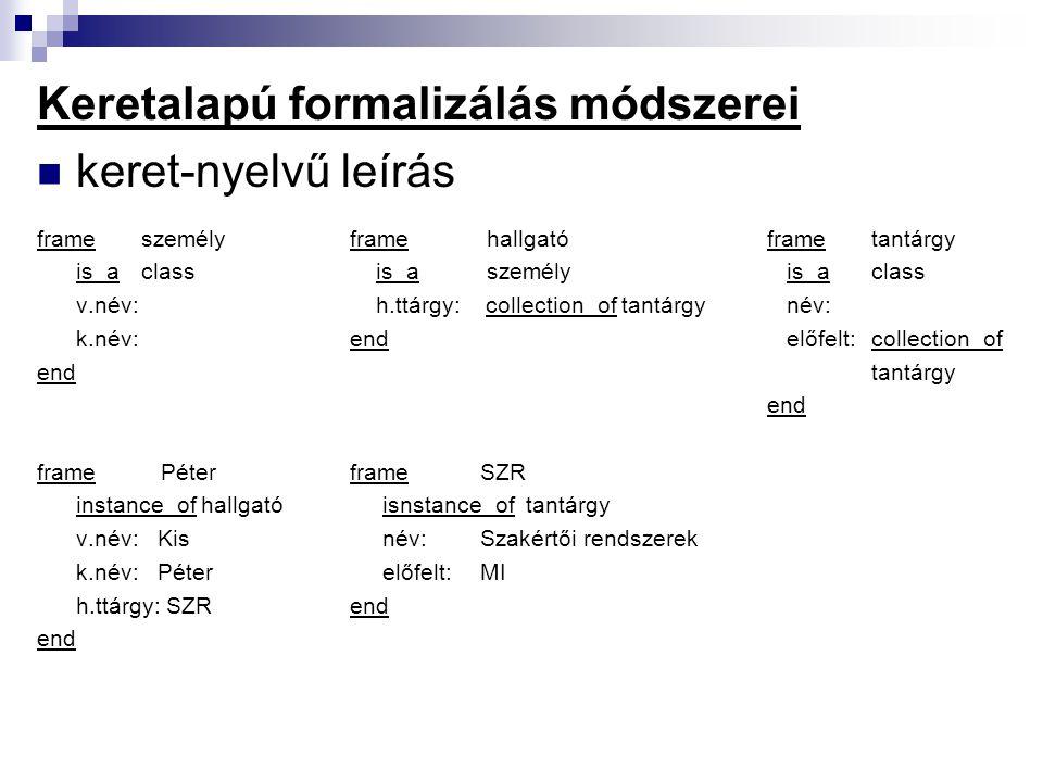 Keretalapú formalizálás módszerei objektum-attribútum-érték hármasok