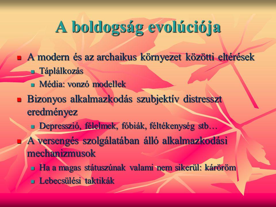 Az egyedfejlődés bio-kulturális távlata Az ember individuális és társadalmi viselkedésének jelentős része úgy fejlődött ki, hogy biztosítsa a túlélést és a reprodukciót őseink környezetében Az ember individuális és társadalmi viselkedésének jelentős része úgy fejlődött ki, hogy biztosítsa a túlélést és a reprodukciót őseink környezetében Ugyanakkor ez nem magyarázza az emberi kollektivizmust és más kulturális hagyományt Ugyanakkor ez nem magyarázza az emberi kollektivizmust és más kulturális hagyományt