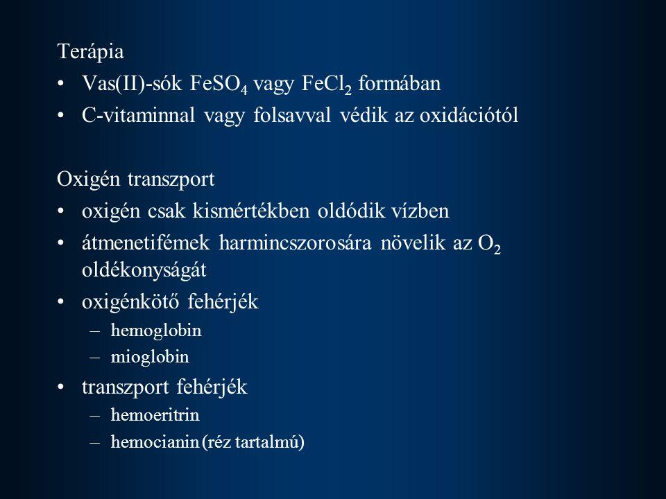 Terápia Vas(II)-sók FeSO 4 vagy FeCl 2 formában C-vitaminnal vagy folsavval védik az oxidációtól Oxigén transzport oxigén csak kismértékben oldódik vízben átmenetifémek harmincszorosára növelik az O 2 oldékonyságát oxigénkötő fehérjék –hemoglobin –mioglobin transzport fehérjék –hemoeritrin –hemocianin (réz tartalmú)