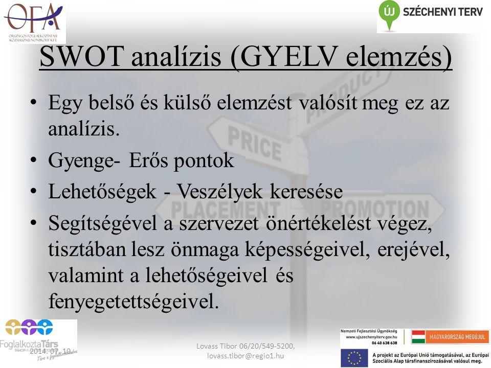 SWOT analízis (GYELV elemzés) Egy belső és külső elemzést valósít meg ez az analízis. Gyenge- Erős pontok Lehetőségek - Veszélyek keresése Segítségéve